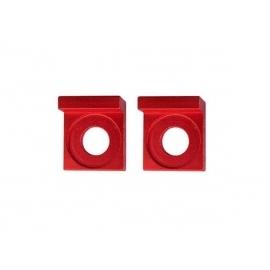 Square aluminium chain tensioners - 15mm - Red