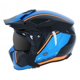 MT Casque Trial Cross Streetfighter version Noir Bleu Orange